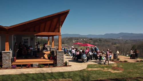 Guests on Tasting Room patio
